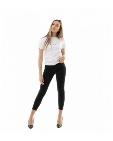 T-SHIRT GIROCOLLO CON LOGO IN STRASS A STAMPA FL. GUESS JEANS